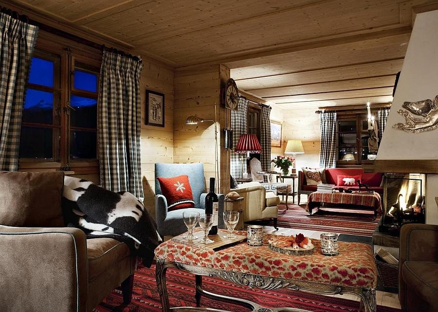 Cozy living space inside Chalet Bear