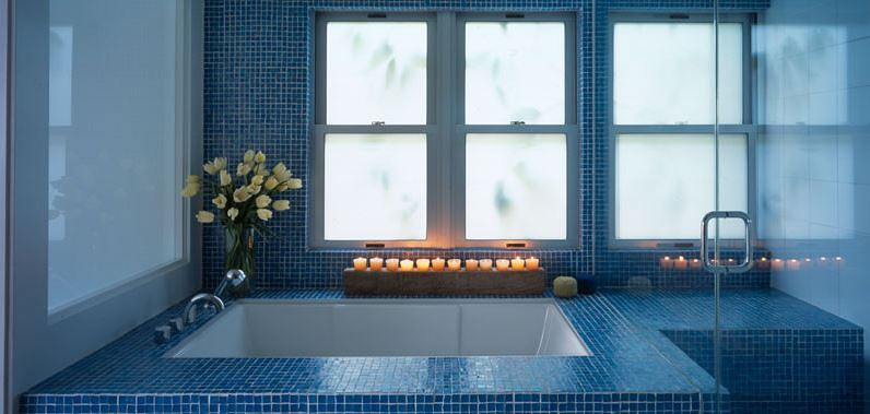 Cozy tub with candles
