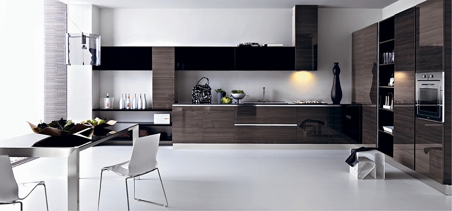 Create a balanced contrast between light and dark tones in the kitchen