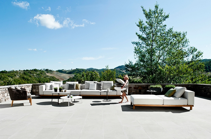 Create a modern outdoor lounge with the Vis à vis Collection from Tribu