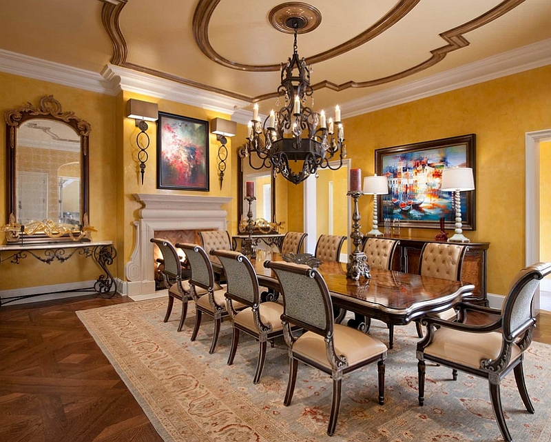 Create an inviting dining room with yellow [Design: Wesley-Wayne Interiors]
