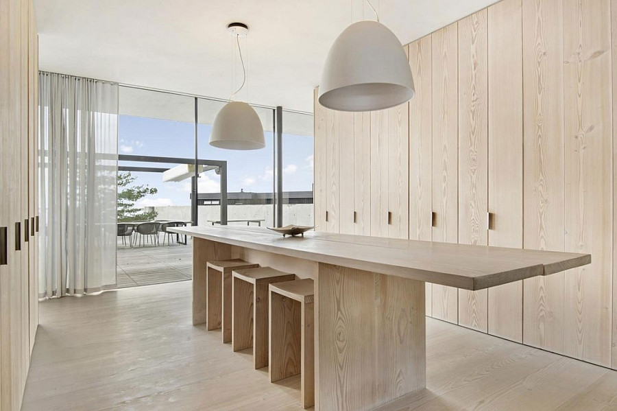 Creative kitchen siland design with minimalist style in wood