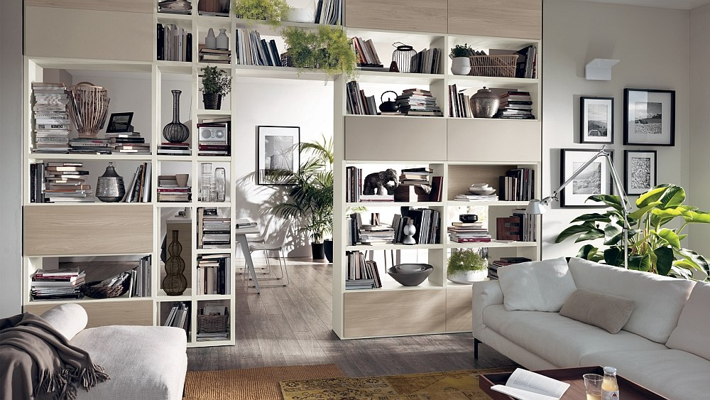 Creative way to seperate spaces in an open livig zone with smart storage systems 12 Dynamic Living Room Compositions with Versatile Wall Unit Systems