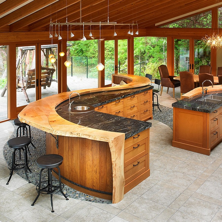 ... Custom Crafted Kitchen Island Turns The Kitchen Into A Cool Hangout [ Design: The Sky