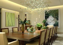 Custom lighting fixture adds to the appeal of the dining room