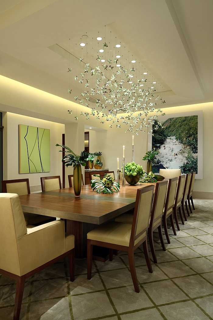 Custom lighting fixture adds to the appeal of the dining room [Design: David Phoenix Interior Design]