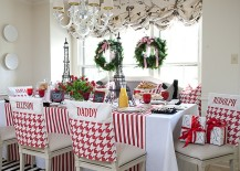 Custom made chair covers for the festive kitchen and dining space
