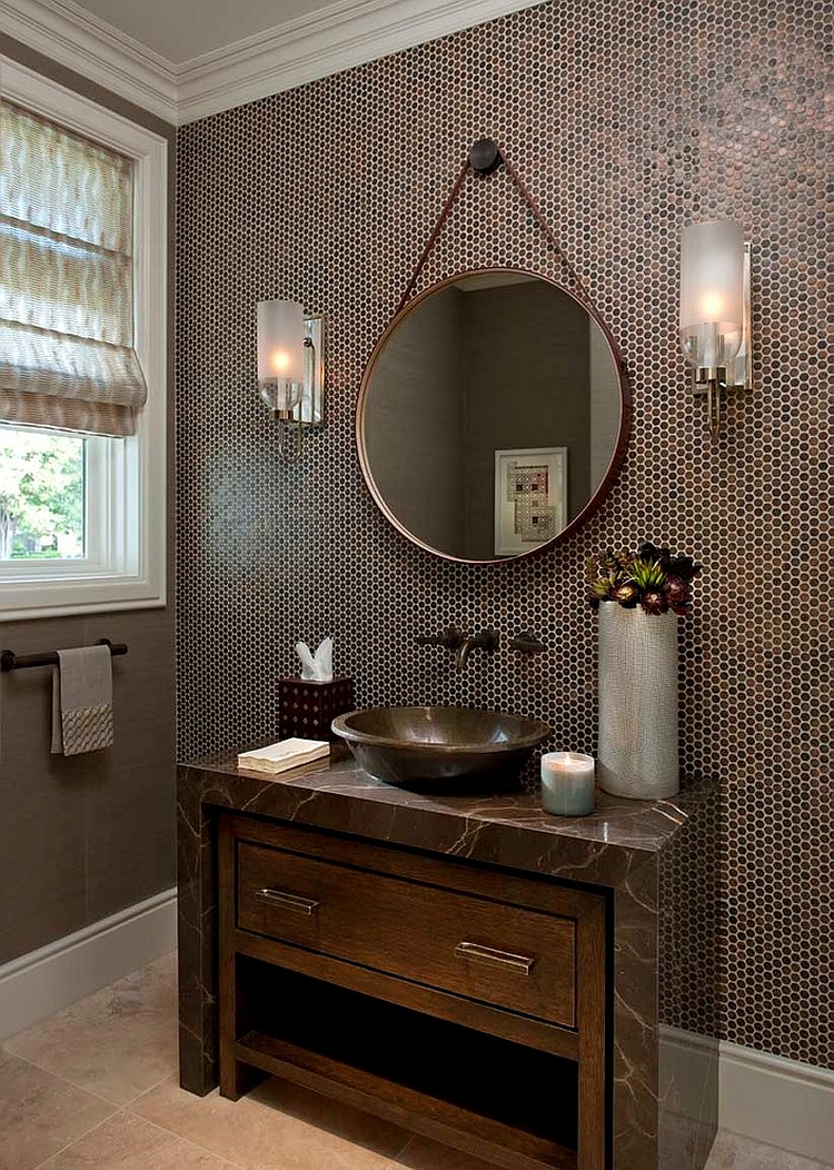 Custom made vanity adds to the glamour of the small bathroom [Design: House of Amelia]