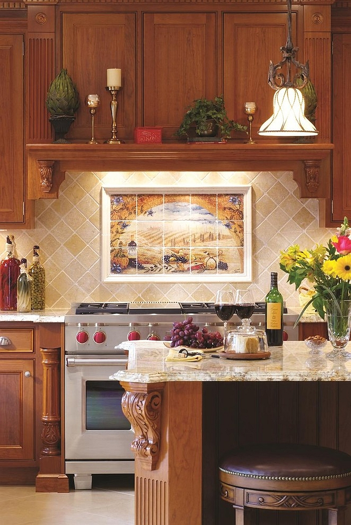 Custom tile wall mural brings the backsplash alive!