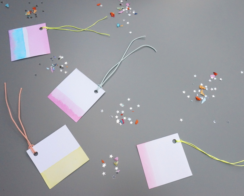 Neon dip-dyed gift tags