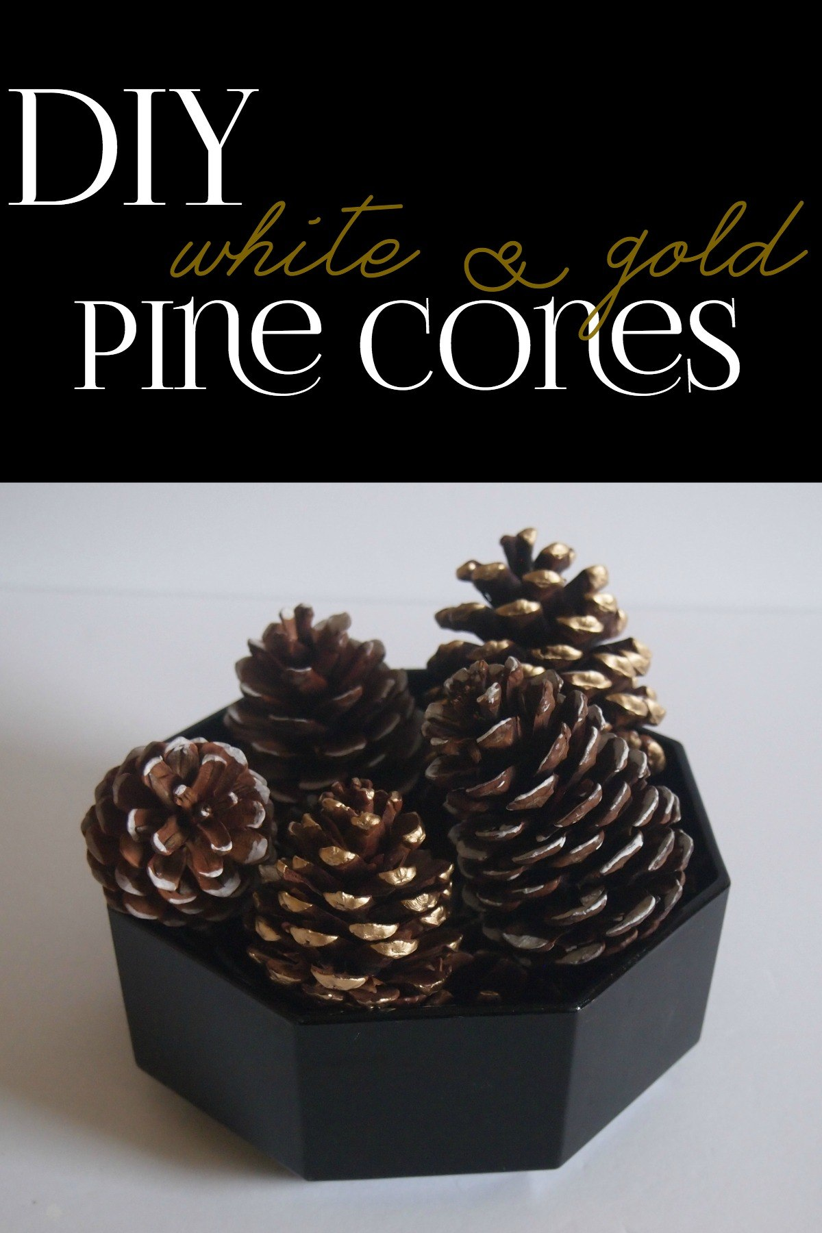 DIY White and Gold Pine Cones DIY Winter Decor Using Painted Pinecones