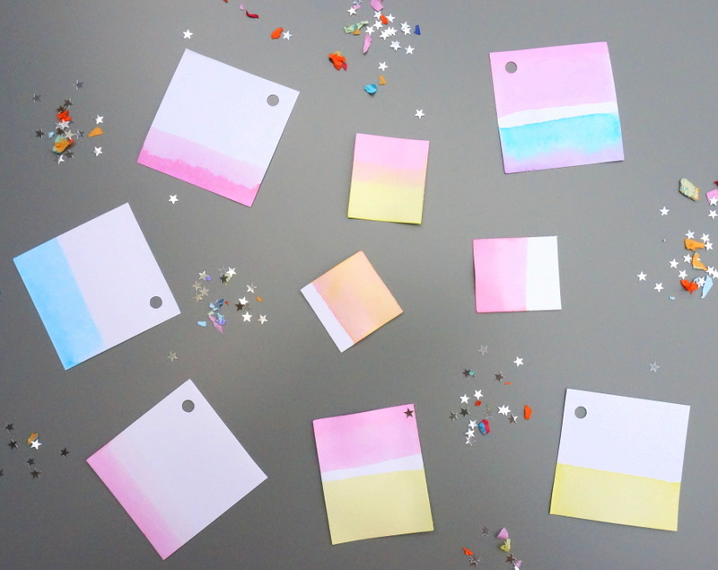 DIY dip-dye gift tags