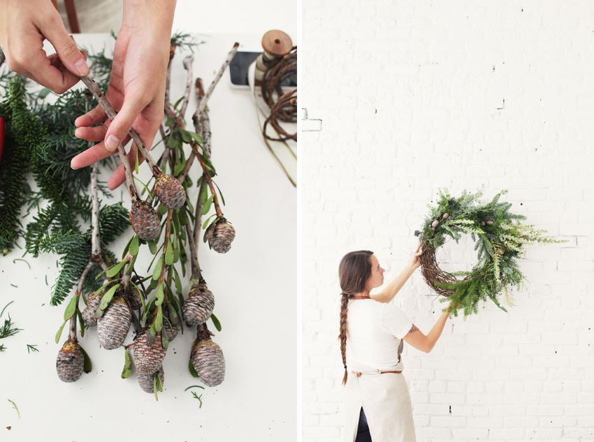 DIY holiday wreath with greenery