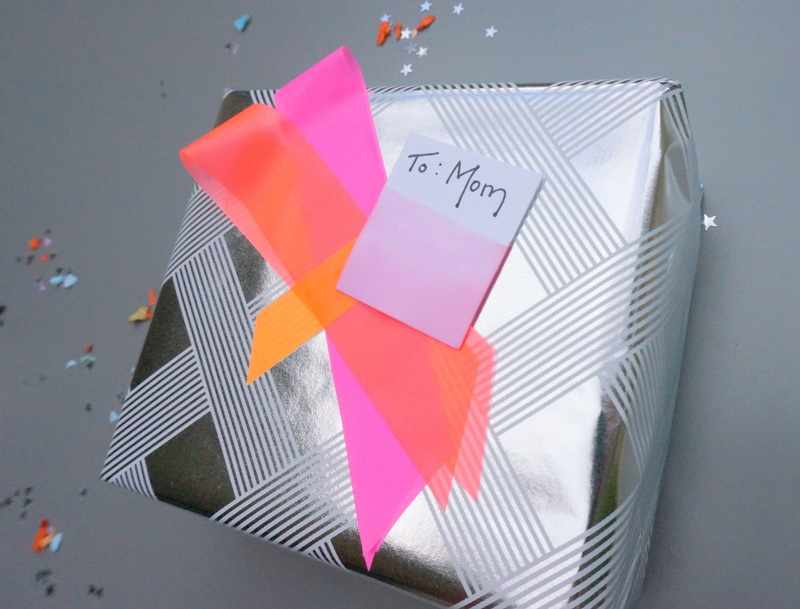 DIY neon gift wrap idea