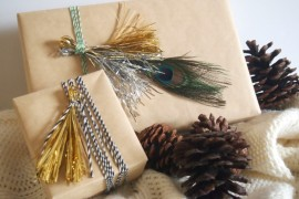 DIY Metallic Tinsel Tassel Gift Wrap