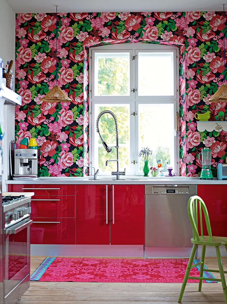 Kitchen wallpaper ideas wall decor that sticks for Kitchen colors with white cabinets with papier peints design