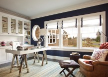 Dark blue walls bring chic elegance to the stylish home office 217x155 10 Cheerful Home Offices with Beautiful Beach Style