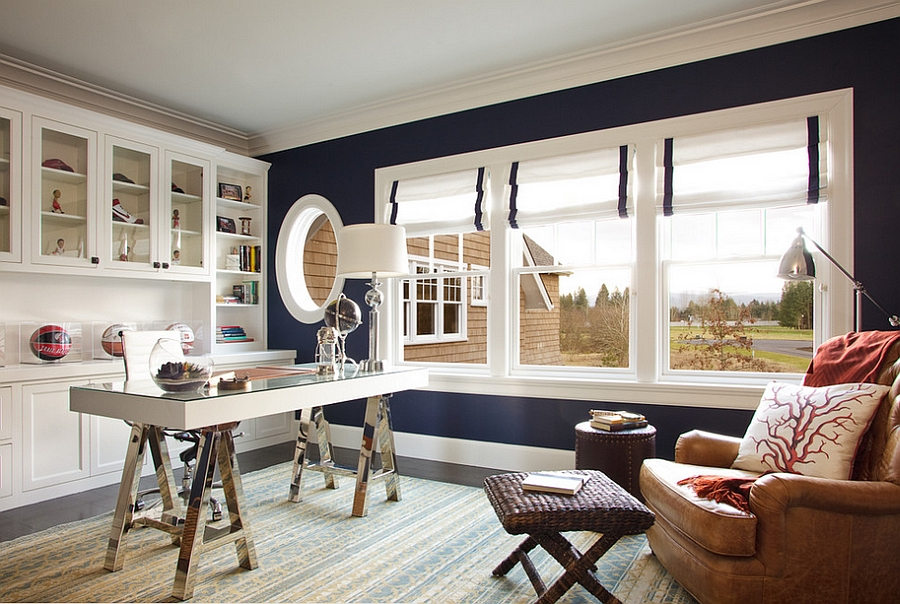 Dark blue walls bring chic elegance to the stylish home office [Design: Garrison Hullinger Interior Design]
