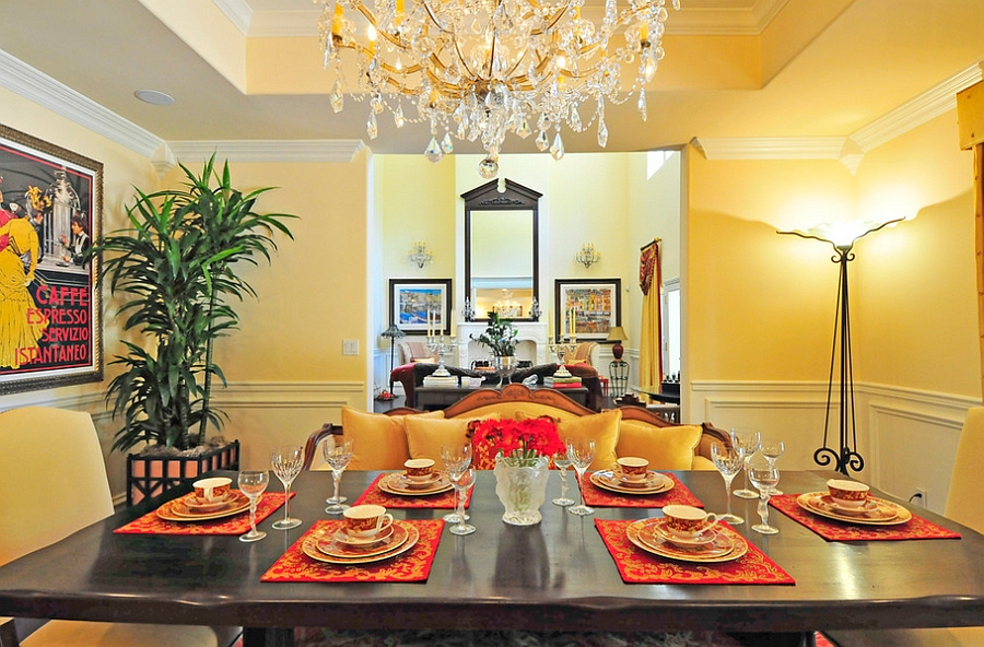 Dazzling Mediterranean dining room in yellow [Design: Sienna Blanca Design]