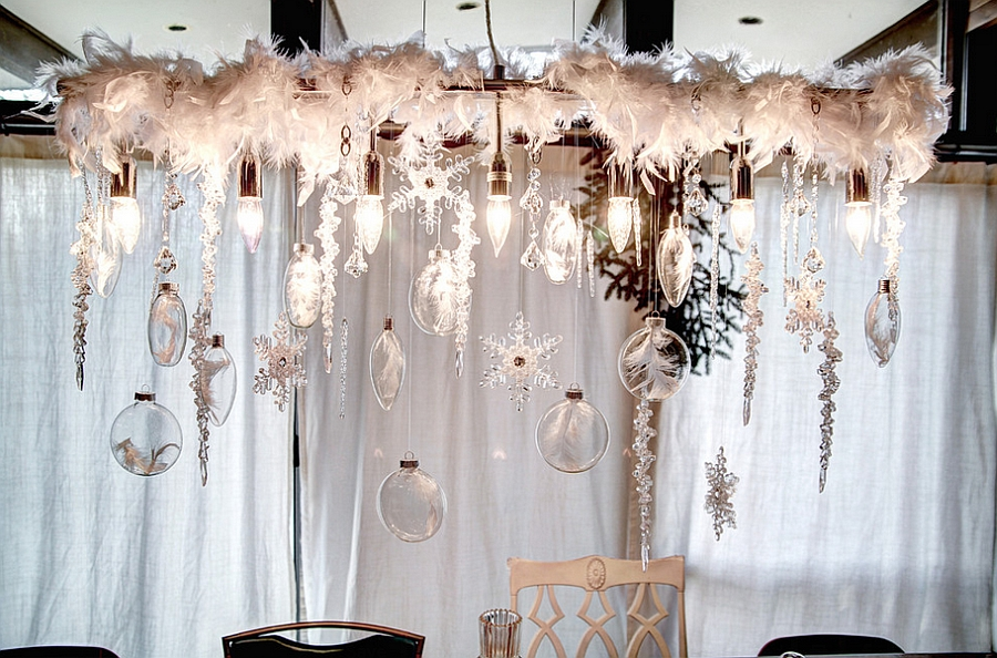 Dazzling dining room chandelier captures the snowy charm of holiday season perfectly [Design: Mindi Freng Designs]