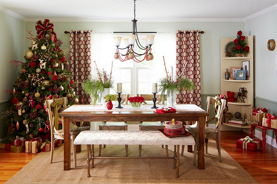 21 christmas dining room decorating ideas with festive flair for Dining space decoration