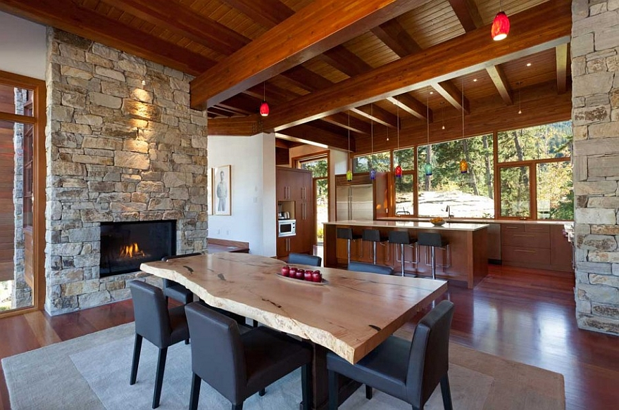 Dining room fireplace idea