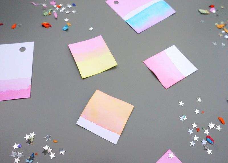 Dip-dye gift tags