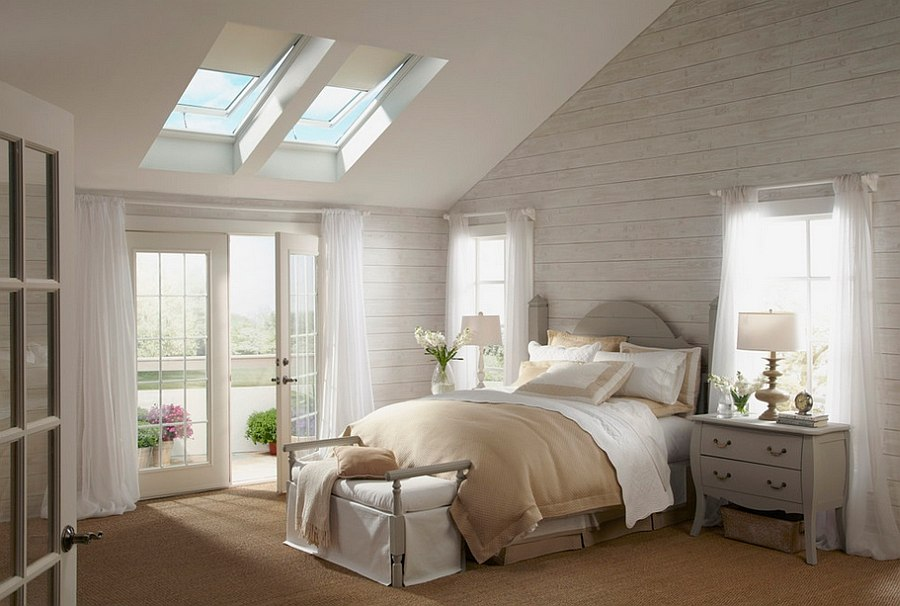 Dreamy bedroom has a serene cozy aura 23 Stylish Bedrooms That Bring Home the Beauty of Skylights!