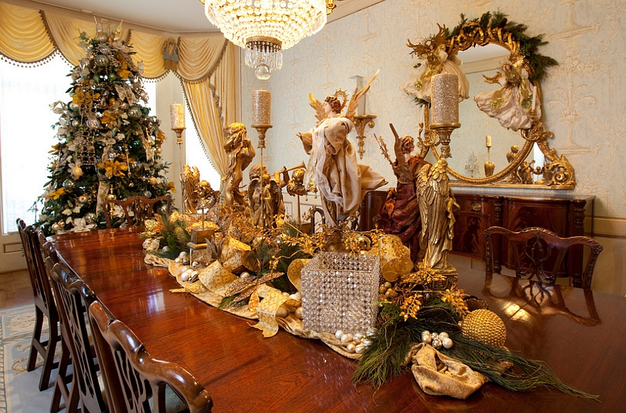 Dress up the dining room in gold this Holidays [Design: Regina Gust Designs]