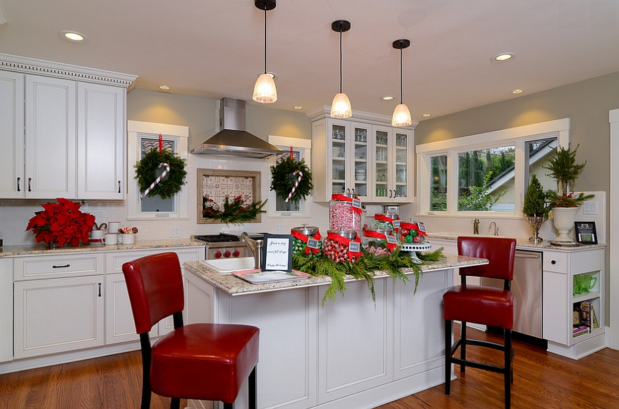 Eclectic kitchen gets a Christmassy makeover! [Design: Kerrie L. Kelly]