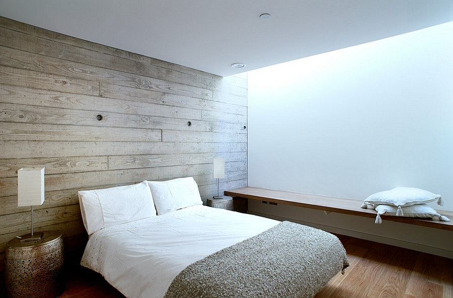 Elegant accent wall steals the show in this bedroom