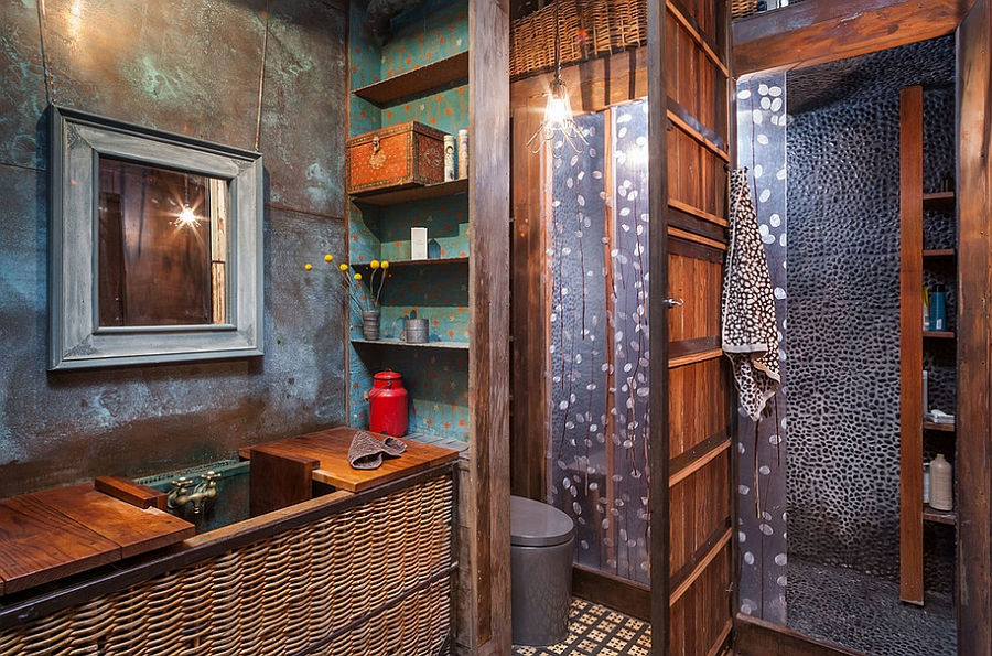 view in gallery elegant and unique industrial style bathroom from kuda photography