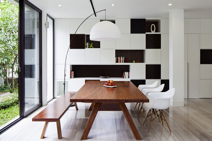 Elegant dining space with black and white backdrop