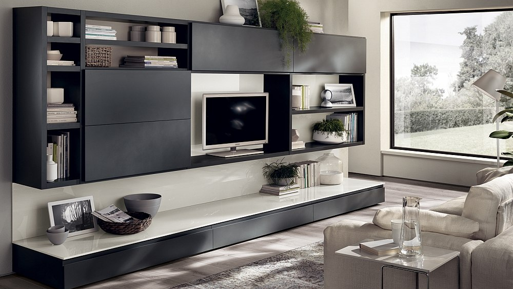 Elegant gray living room wall units offer sleek sophistication
