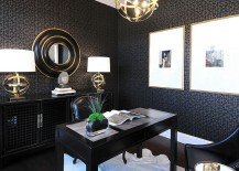 Elegant home office in black and gold