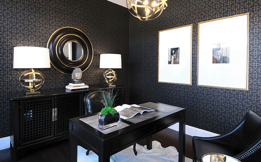 elegant home office in black and gold design atmosphere interior