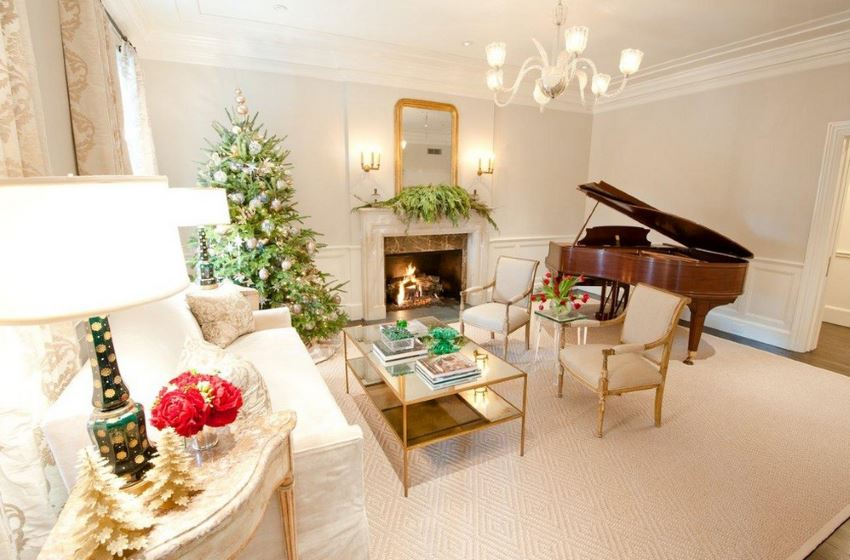 Christmas decorating ideas for piano top : Rooms with festive christmas trees