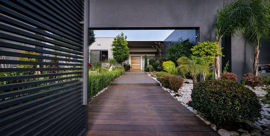 Entrance leading to the fabulous contemporary villa Grand Lifestyle Villa in Israel Brings Luxury to your Doorstep!