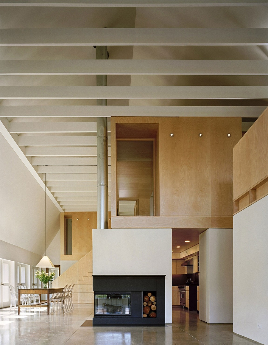 Exposed maple framing and custom woodwork steal the show