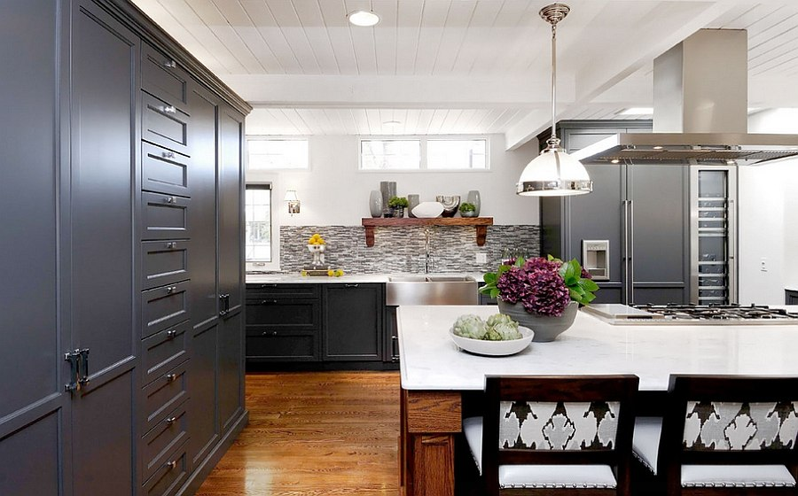 Exquisite use of Shaker style cabinets in the transitional kitchen