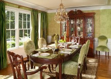 Exquisite use of wallpaper in the cozy dining room