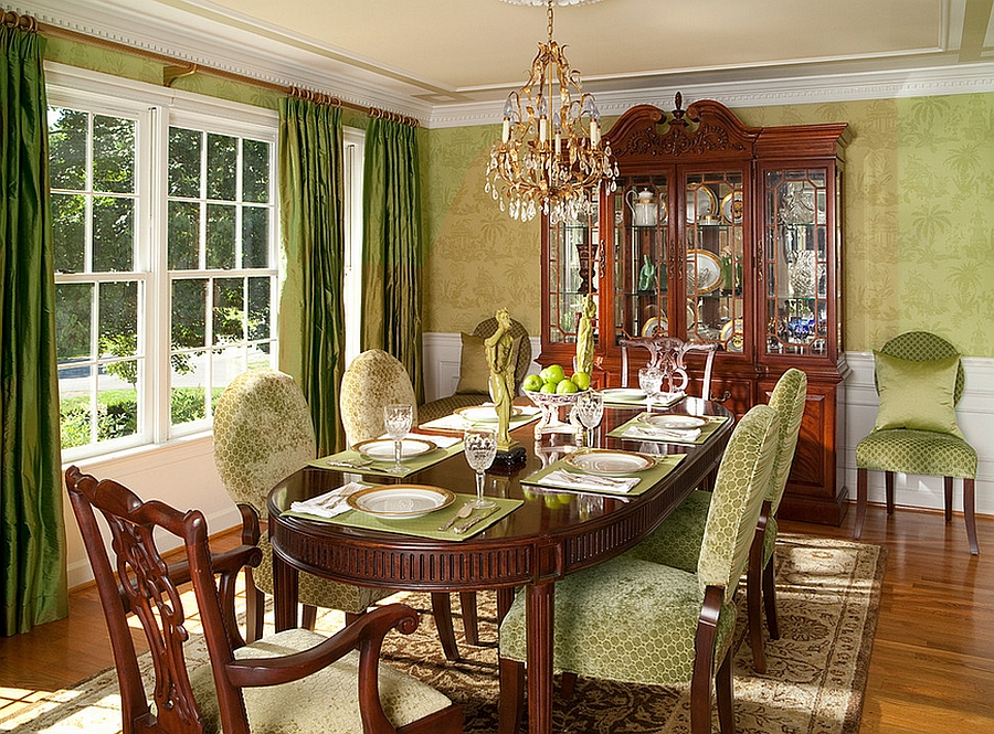 Exquisite use of wallpaper in the cozy dining room [Design: Rachel Bauer Design]