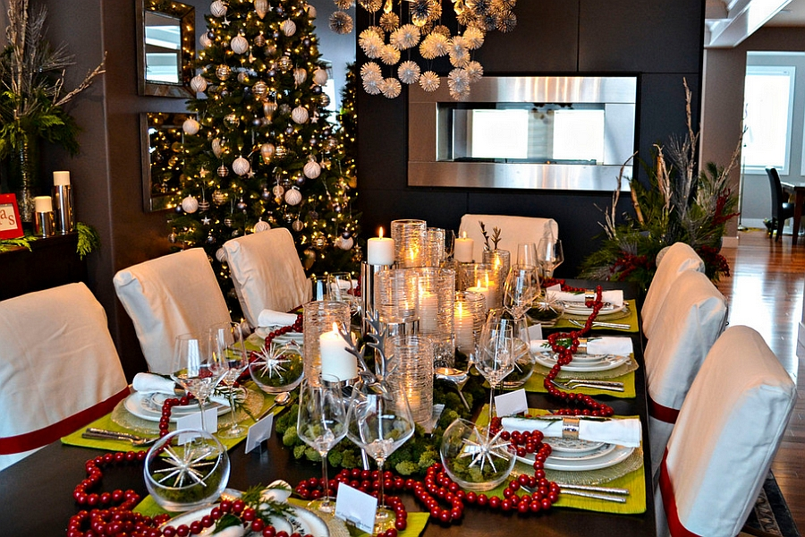 fabulous christmas decorations for the modern dining room design amr design - Dining Room Table Christmas Decoration Ideas