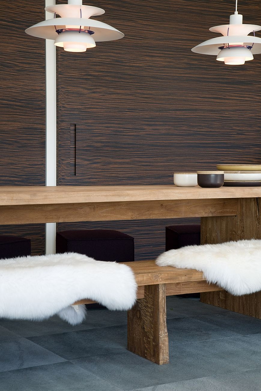 Fabulous blend of plush textures in the dining room