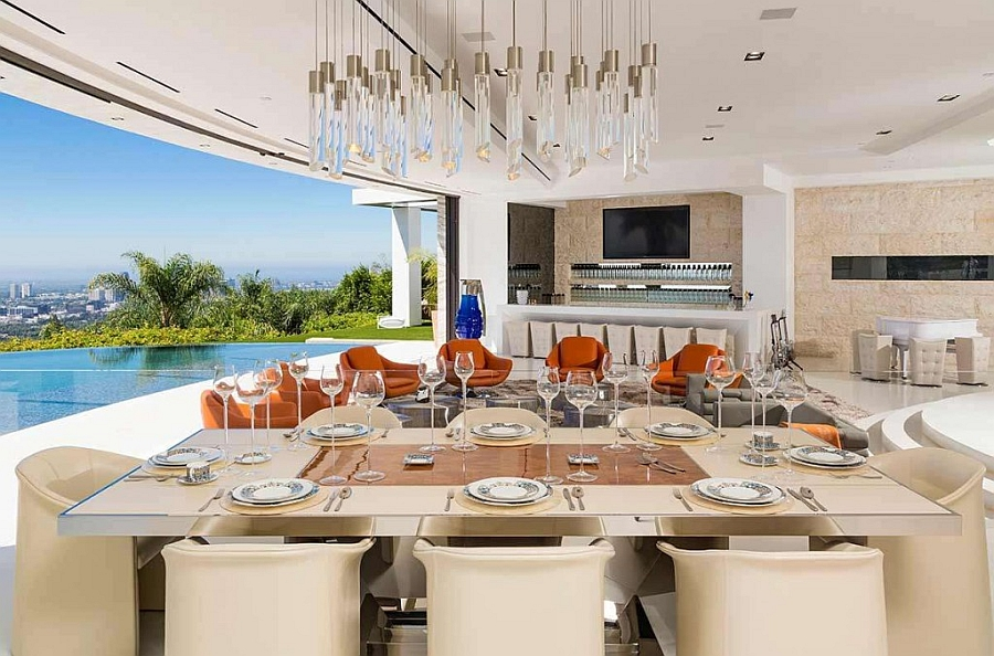 Fabulous dining area with sparkling chandelier above