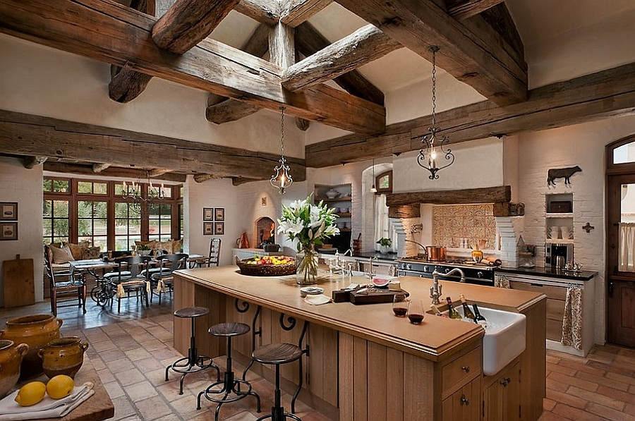 View In Gallery Fabulous Kitchen With Exposed Wooden Ceiling Beams Design Calvis Wyant Luxury Homes