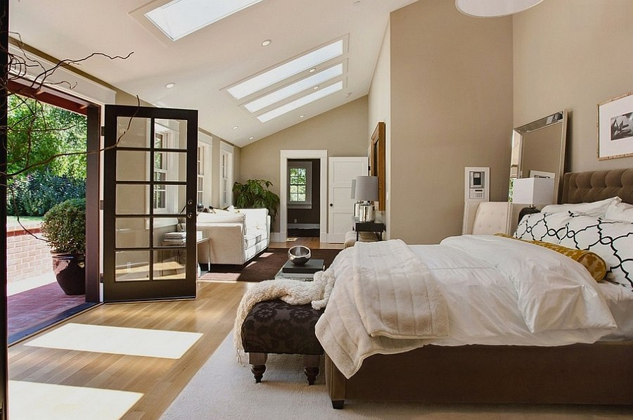 Fabulous master bedroom with a private deck and luxurious decor [Design: Urrutia Design]