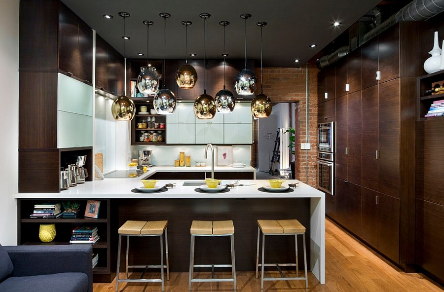 Fabulous use of gold and silver lighting fixtures in the kitchen [Design: Thermador Home Appliances]