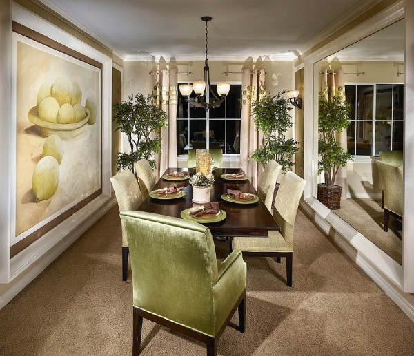 Fabulous use of green in the elegant dining room