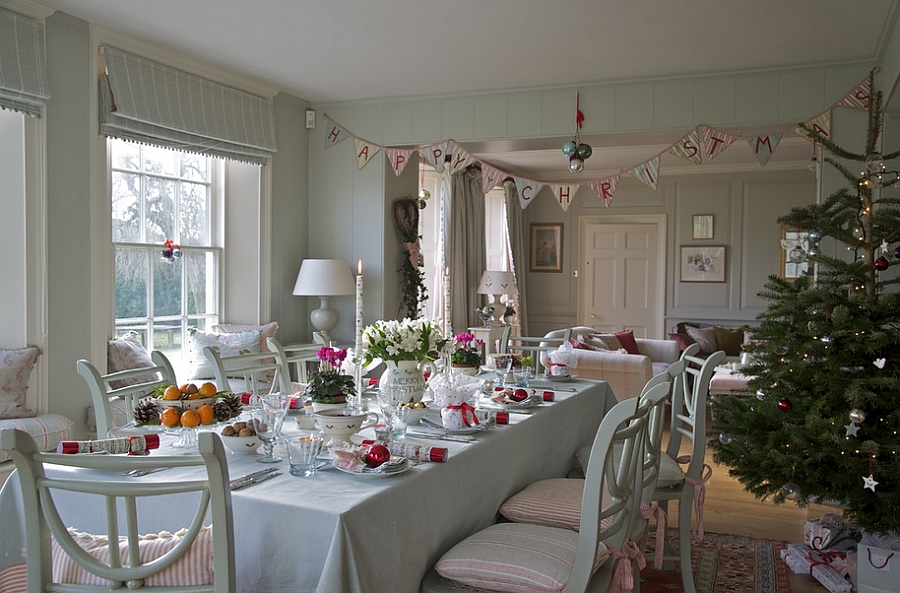 Farmhouse style dining space with classy Christmas decorations